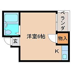 近鉄南大阪線 高田市駅 徒歩3分の賃貸マンション 3階ワンルームの間取り