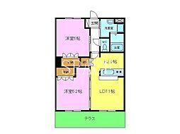 南海高野線 萩原天神駅 徒歩29分の賃貸マンション 2階2LDKの間取り