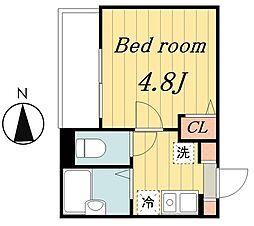 東京メトロ千代田線 北綾瀬駅 徒歩15分の賃貸アパート 1階1Kの間取り
