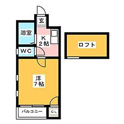 クレセント博多[2階]の間取り