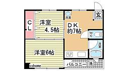 大竹マンション[402号室]の間取り