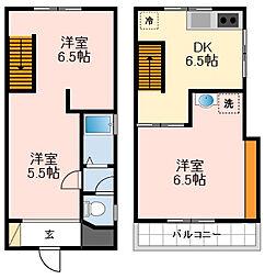 南海高野線 初芝駅 徒歩5分の賃貸一戸建て 1階3DKの間取り