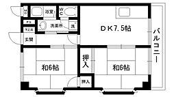 岡田ハイツ 2階2DKの間取り
