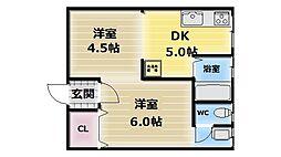 大阪府東大阪市友井5丁目の賃貸マンションの間取り