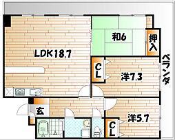 藤和ハイタウン企救丘駅前II[5階]の間取り