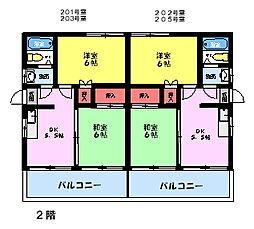 Kハウス(2F角)[2階]の間取り