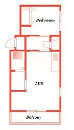 エーケーハイムプランドール -AK Heim Plunder[203号室]の間取り