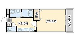 JR阪和線 日根野駅 徒歩8分の賃貸アパート 2階1Kの間取り