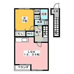 愛知県名古屋市中川区島井町の賃貸アパートの間取り