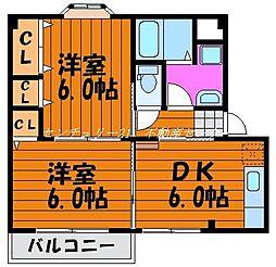 岡山県岡山市東区瀬戸町沖の賃貸アパートの間取り