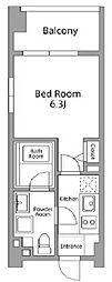 レジディア築地 4階1Kの間取り