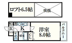スカイビュー六甲 8階1Kの間取り