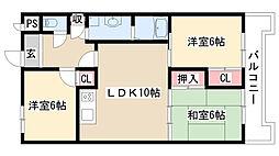 愛知県名古屋市天白区原4丁目の賃貸マンションの間取り