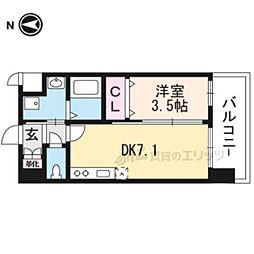 JR東海道・山陽本線 岸辺駅 徒歩4分の賃貸マンション 2階1DKの間取り