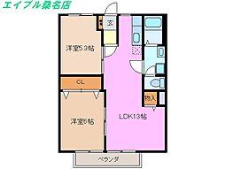三重県桑名市大字北別所の賃貸アパートの間取り