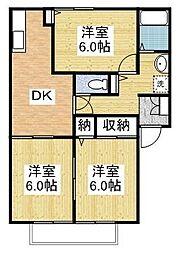 プリマベラ石田[A203号室]の間取り