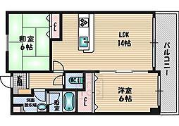シルフィード緑地 3階2LDKの間取り