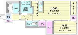 プルーム三神峯 1階1LDKの間取り