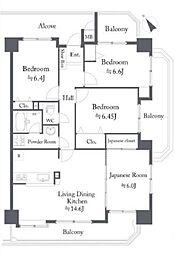 全居室6帖以上の角部屋、3面バルコニーの明るい邸宅。ご案内はお任せください。