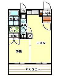 シャトーベルク 1階1LDKの間取り