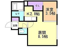 Progress澄川 4階1LDKの間取り