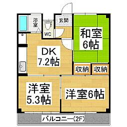 コーポ上條B棟[2階]の間取り