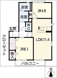 ルミエール21[1階]の間取り