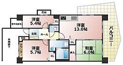 フレール六甲桜ヶ丘[7階]の間取り