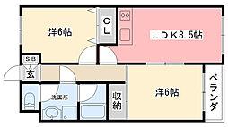 ハイツ栄宏[305号室]の間取り
