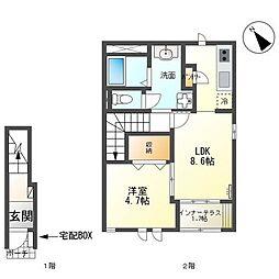 仮)日立市南高野町アパート 2階1LDKの間取り