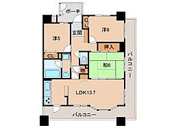 アリスト和歌山城304号[3階]の間取り