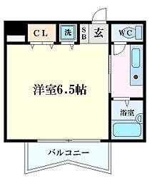 Osaka Metro谷町線 太子橋今市駅 徒歩1分の賃貸マンション 2階1Kの間取り