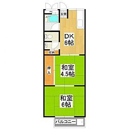 大阪府堺市東区草尾の賃貸アパートの間取り