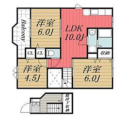 京成本線 京成佐倉駅 バス7分 血清研究所下車 徒歩3分の賃貸アパート 2階3LDKの間取り