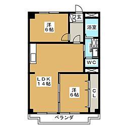 三鉦マンション[2階]の間取り