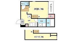 大阪府吹田市金田町の賃貸アパートの間取り