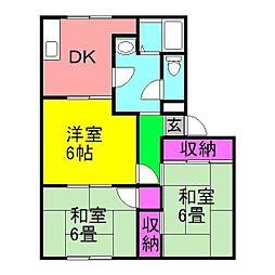 千葉県八千代市八千代台北10丁目の賃貸アパートの間取り