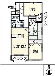 三城ハピネス[4階]の間取り