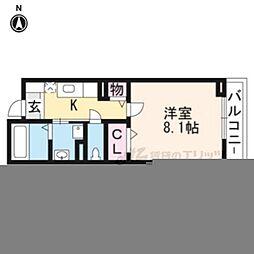 阪急京都本線 西京極駅 徒歩14分の賃貸マンション 2階1Kの間取り