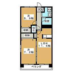 ドエル多賀城[2階]の間取り