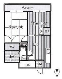 バウムコート田中 bt[302kk号室]の間取り