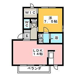 キャトル・セゾン西条B[1階]の間取り