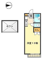 愛知県名古屋市名東区山の手3-の賃貸アパートの間取り