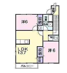 茨城県龍ケ崎市松ケ丘4丁目の賃貸アパートの間取り