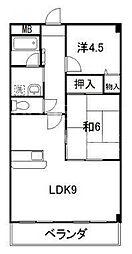 エスポワール鷺[3-B号室号室]の間取り