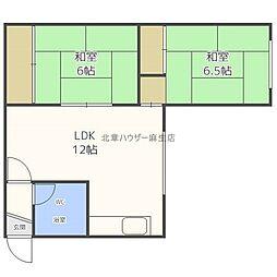 道下たたみアパート 2階2LDKの間取り