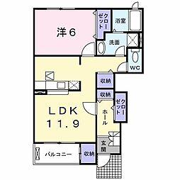 クレメントB棟[1階]の間取り