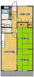 兵庫県神戸市北区南五葉2丁目の賃貸マンションの間取り