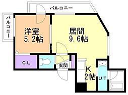Dolce Fushimi 2階1LDKの間取り