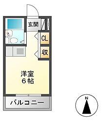 ヤマトビル 4階ワンルームの間取り